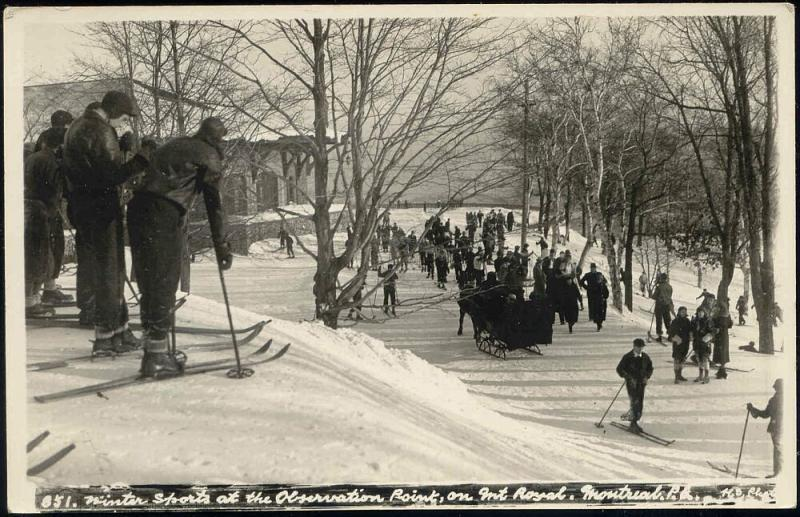 canada, MONTREAL P.Q., Observation Point of Mont-Royal, Winter Sports 1930s RPPC