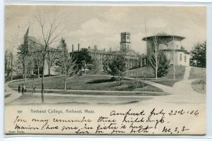 Amherst College Campus View Amherst Massachusetts 1906 postcard