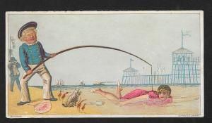 VICTORIAN TRADE CARDS (2) Sutter Tobacco Seaside scenes