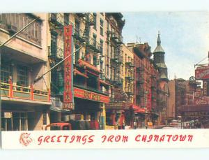 Pre-1980 OLD CARS & SHOPS ON STREET IN CHINATOWN New York City NY n1034