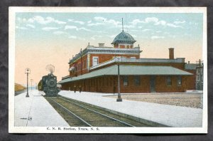 dc1154 - TRURO NS 1920s CNR Train Station. Antique Postcard