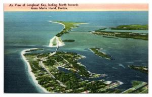 Air View of Longboat Key, Anna Maria Island, FL Postcard *5N1