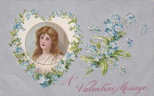 A Valentine Message, Portrait of brunette, heart shaped frame, Forget-Me-Nots...