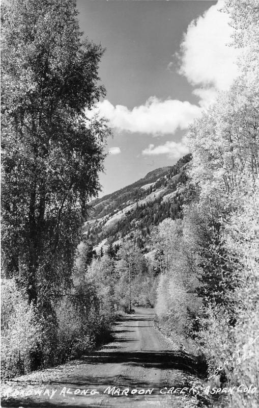 Aspen Colorado~Dirt Road along Caroon Creek in Forest~Pitkin County~Schutte RPPC