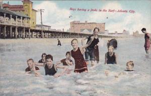 Boys Having A Frolic in The Surf Atlantic City New Jersey 1911
