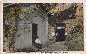 C78/ Grottoes Virginia Va Postcard 1920 Entrance Weyers Cave People Caverns