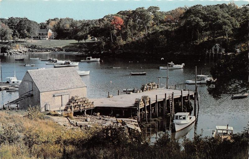 Maine~Lobster Boats in Harbor~Cages on Dock & by Shed~House Bknd~1979 Postcard