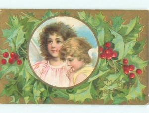 Pre-Linen christmas PAIR OF PRETTY ANGELS WITH HOLLY W6921