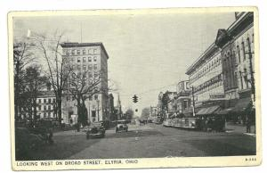 1930s Looking west on Broad st, Elyria, Ohio, Has Creases right side