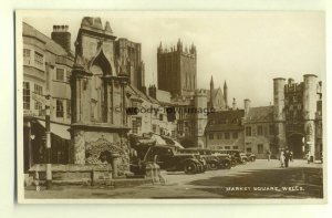 tp4527 - Somerset - Market Square, Church & Monument at Wells  - Postcard