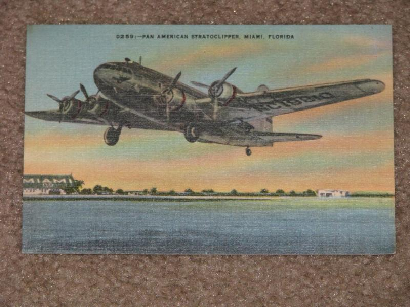 D259:--Pan American Stratoclipper, Miami Florida, unused vintage card