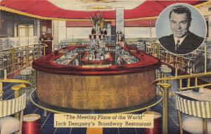New York City~Jack Dempsey's Broadway Restaurant~Dining/Bar Room~1944 Postcard