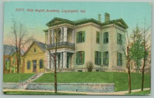 Logansport IN~Stone, Brick Wall by Holy Angels Academy, Columns, Balcony c1910