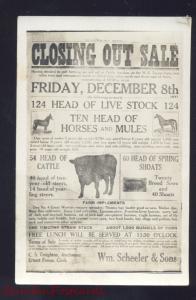 RPPC ADAIR IOWA FARMING FARM 1911 AUCTION ADVERTISING REAL PHOTO POSTCARD