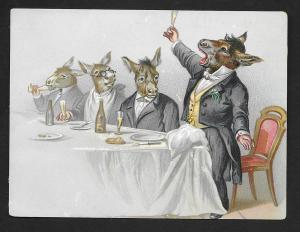VICTORIAN TRADE CARD Donkeys Dressed as Men Giving a Toast
