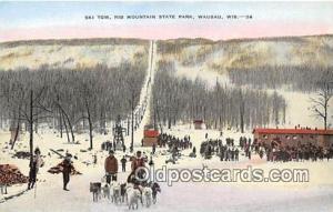 Dog Drawn Postcard Wausau, WI, USA Ski Tow, Rib Mountain State Park