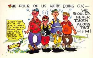 Old Vintage Golf Postcard Post Card The Four of us were doing ok Unused