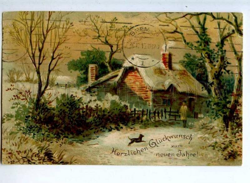 240586 NEW YEAR Winter Landscape DOG Vintage 1915 year PC