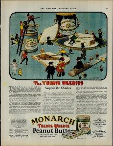 1927 Monarch Teenie Weenie Peanut Butter Knife Bread Vintage Print Ad 3896