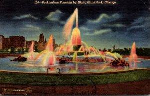 Illinois Chicago Buckingham Fountain By Night 1975 Curteich