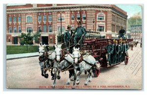 Postcard Hook and Ladder Truck #1, Going to a Fire, Providence RI 1907 Y65