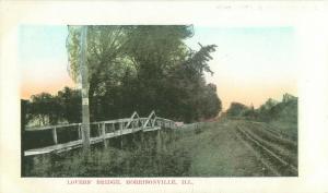 Morrisonville, Illinois Lovers' Bridge Old Hand-Tinted Postcard