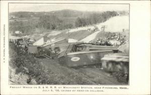 Freight Wreck RR Train B&M at Wchusett Station Near Fitchburg MA 1905 Postcard