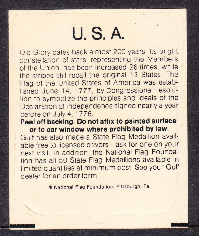 Gulf Oil Co flag sticker promo item