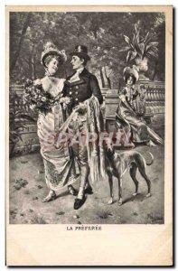 Postcard Old Dog Dogs Greyhound Woman preferee