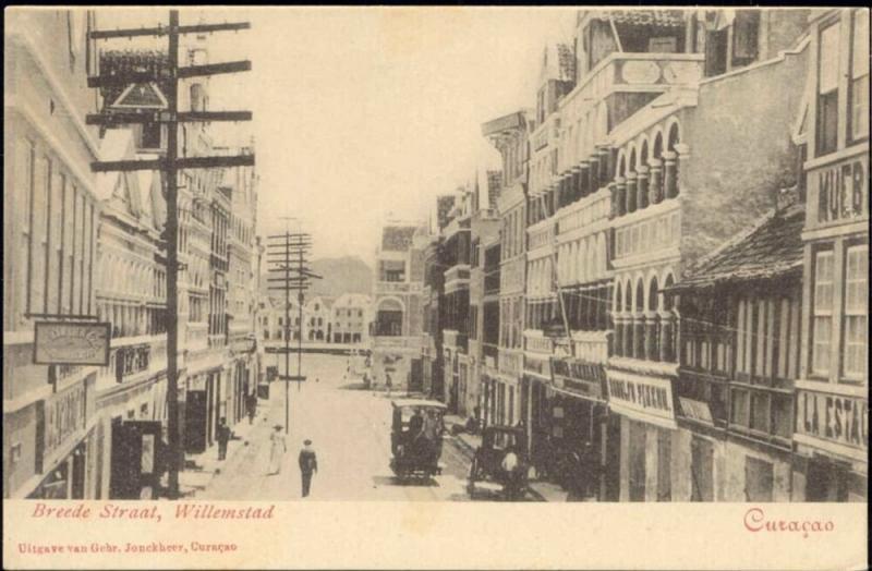curacao, D.W.I., WILLEMSTAD, Breede Straat, Tram (1899)