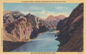 Arizona Boulder Colorado River Looking Downstream From Boulder Dam Boulder Da...