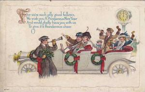 Family in car blow horns at midnight, New Year , PU-1915