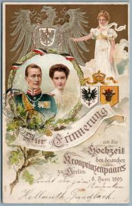 GERMAN CROWN PRINCE WILHEM & DUCHESS CECILIE MARRIAGE in BERLIN ANTIQUE POSTCARD