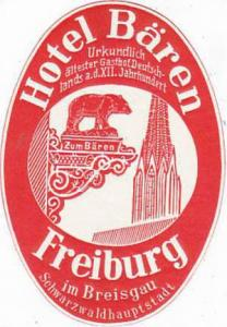 GERMANY FREIBURG HOTEL BAEREN VINTAGE LUGGAGE LABEL