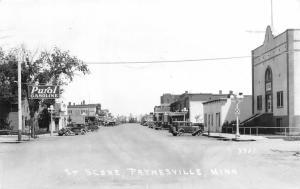 Paynesville MN~Main Street~Purol Gasoline Station~Chevrolet~Ford~1920s Cars~RPPC
