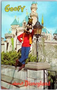 DISNEYLAND California Postcard GOOFY & Sleeping Beauty Castle 1-322 c1960s