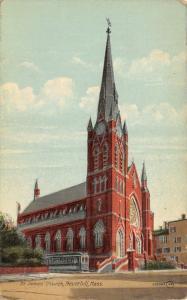 Haverhill Massachusetts~Trolley by St James Church~1912 Postcard