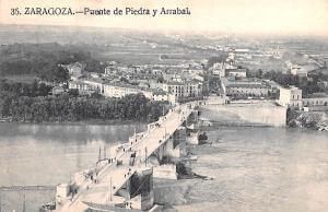 Spain Old Vintage Antique Post Card Puente de Piedra y Arrabal Zaragoza Unused