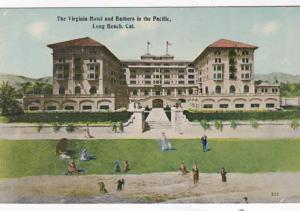 California Long Beach Hotel Virginia and Bathers In The Pacific