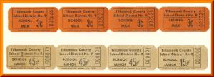 Vintage School Milk & Lunch Tickets, Tillamook County, 1950's?