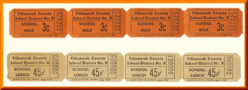 Vintage School Milk & Lunch Tickets, Tillamook County, 1950's?