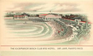 Vintage Postcard The Escambron Beach Club and Hotel San Juan Puerto Rico