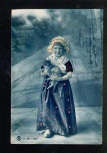046711 Tinted Girl w/ Little KITTEN vintage PHOTO