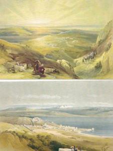 Six Litho Post Cards of Palestine Jerusalem - Artist Drawn by David Roberts