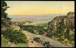 Corley Mountain Highway at Point Sublime, CO. Albertype Co. hand colored linen
