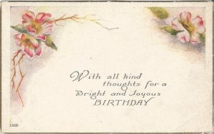 Old Fashioned Pink Country Roses and Poem decorate this Vintage Birthday Post
