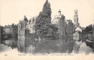 B93663 bruges la canal et le beffroi the canal    belgium