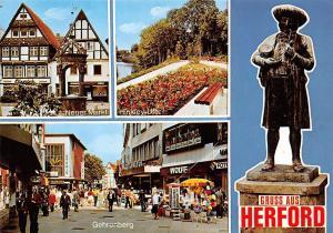 Gruss aus Herford, Gehrenberg Hinkley Ufer Neuer Markt Statue