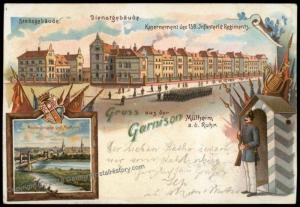 Germany Empire WWI Muehlheim an der Ruhr Garrison Litho Patriotic Postcard 70227