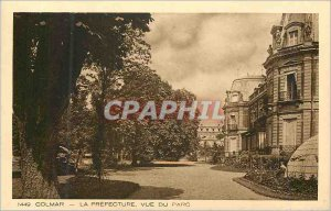 1449 Old Postcard Colmar prefecture view of the park